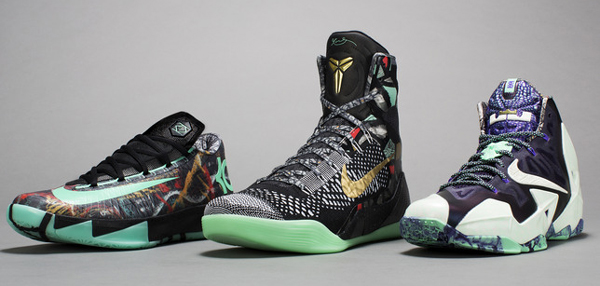 2014 All-Star Game sneakers for, from left: Kevin Durant, Kobe Bryant and LeBron James. (Nike)