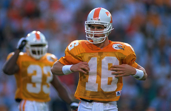 Manning calls signals during a 1994 home game against Alabama during the quarterback's freshman year. The Vols lost, 17-13. (Rick Stewart/SI)