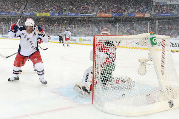 Brad Richards jacked up after a Carl Hagelin goal. (NHLI via Getty Images)