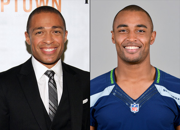 T.J. Holmes: journalist, TV personality and                    Doug Baldwin: Seahawks wide receiver :: Jerritt Clark/WireImage; AP