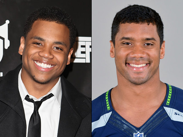 Tristan Wilds: actor (The Wire, 90210) and                    Russell Wilson: Seahawks quarterback :: Chelsea Lauren/WireImage; AP