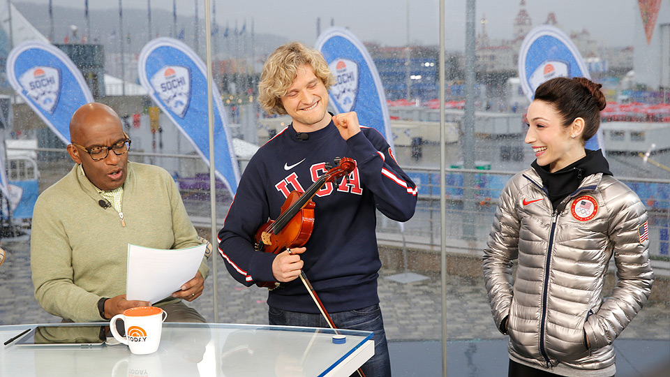 Charlie White smiles after nailing his impromptu violin routine on the Today Show.