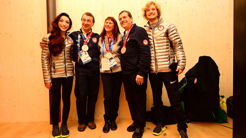 Meryl Davis (left) and Charlie White (right) pose with their coaches Oleg Epstein, Marina Zoueva and Johnny Johns.
