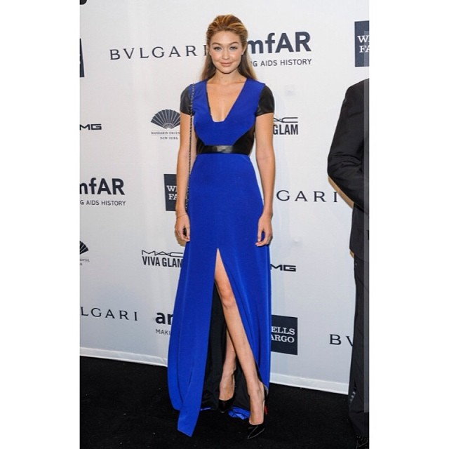 @gigihadid: @amfAR #amfARnewyork Honored to have a attended such an inspiring and charitable night. Thank you @gabrielacadena for the beautiful dress and to my glam team for working their magic: makeup by @frankguyton, hair by@charlesbakerstrahan