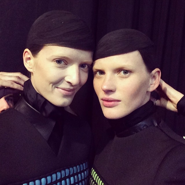 @annev_official: Backstage at @alexanderwangny with @dariastrokous and some weird hands in the background
