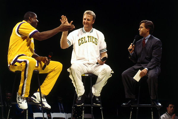 Magic Johnson, Larry Bird and Bob Costas :: Getty Images