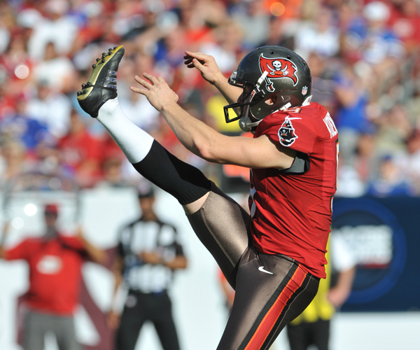 The 2013 version of the Bucs' logo on punter Michael Koenen (photo by Getty Images)