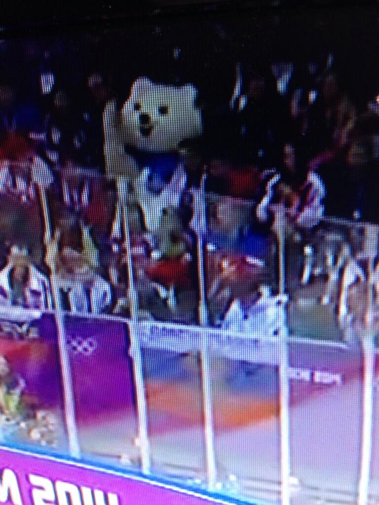 Not creepy at all at the US-Russia men's hockey thriller. (twitter via @matthillman10)