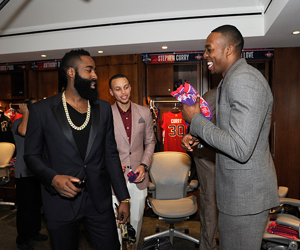 James Harden, Stephen Curry, Dwight Howard (Bill Baptist/Getty Images)