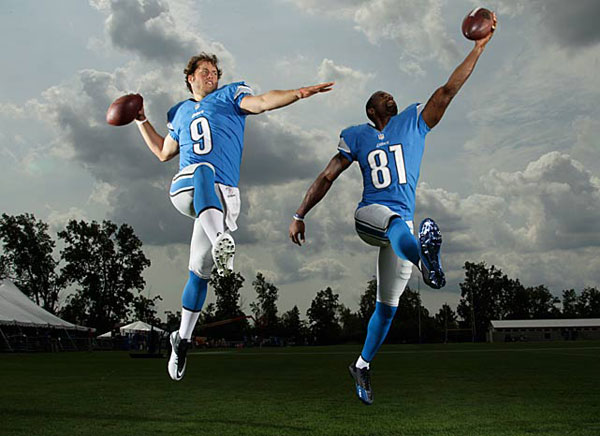 Matthew Stafford and Calvin Johnson :: Walter Iooss Jr./SI