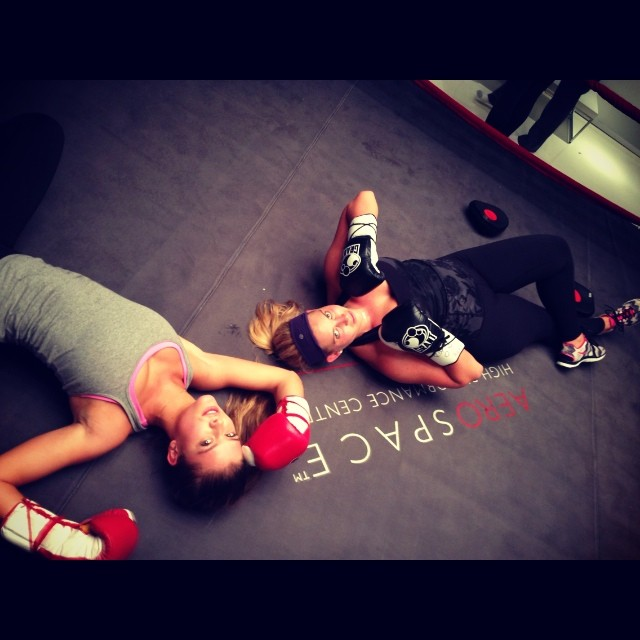@ninaagdal: got our bootys kicked. Literally #aerospace boxing in nyc. Such a great work out@shainafessler