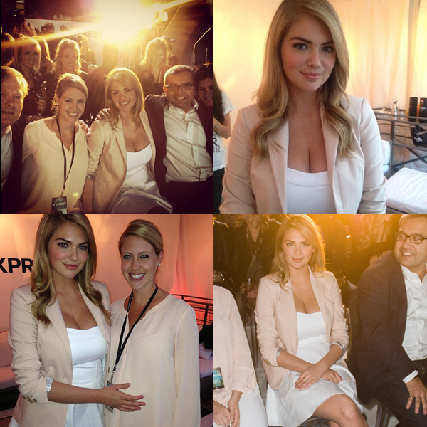 Clockwise from top left: instagram.com/kateupton (with sister Christie and Express President David Kornberg); instagram.com/traceymuamurphy; Getty Images; instagram.com/KateUpton (with expecting sister Christie)