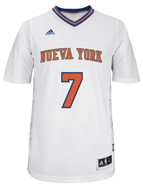 "The New York Knicks' ""Latin Nights"" sleeved jersey to be worn by Carmelo Anthony. (NBA.com)"