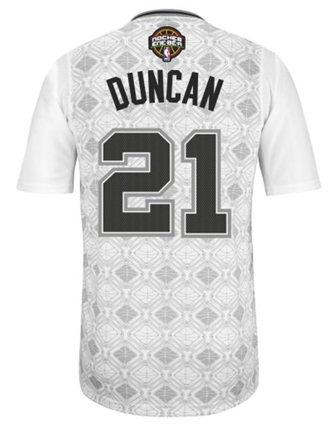 "The San Antonio Spurs'  ""Latin Nights"" sleeved jersey to be worn by Tim Duncan. (NBA.com)"