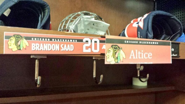Day 2: The guys had their stuff set up in the 'Hawk's locker room at their practice rink