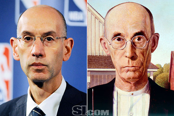 Adam Silver and                               Farmer in this American Gothic painting :: Getty Images