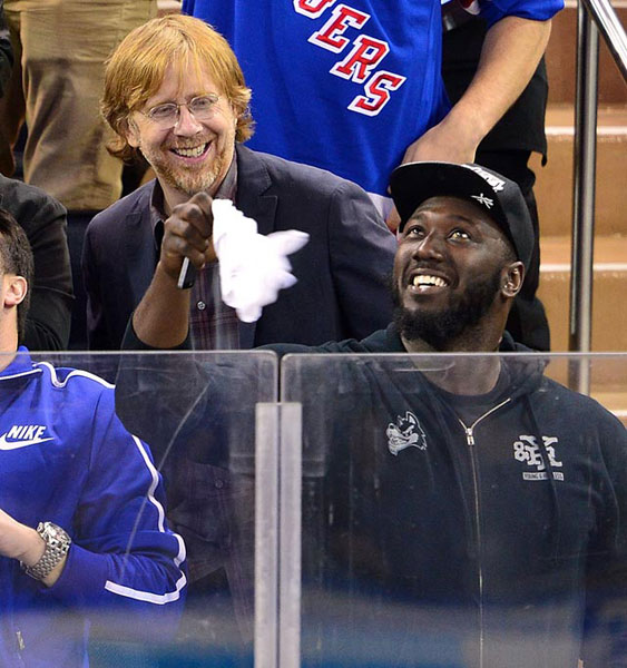 Trey Anastasio and Muhammad Wilkerson,                      New York Rangers vs. Philadelphia Flyers :: Getty Images