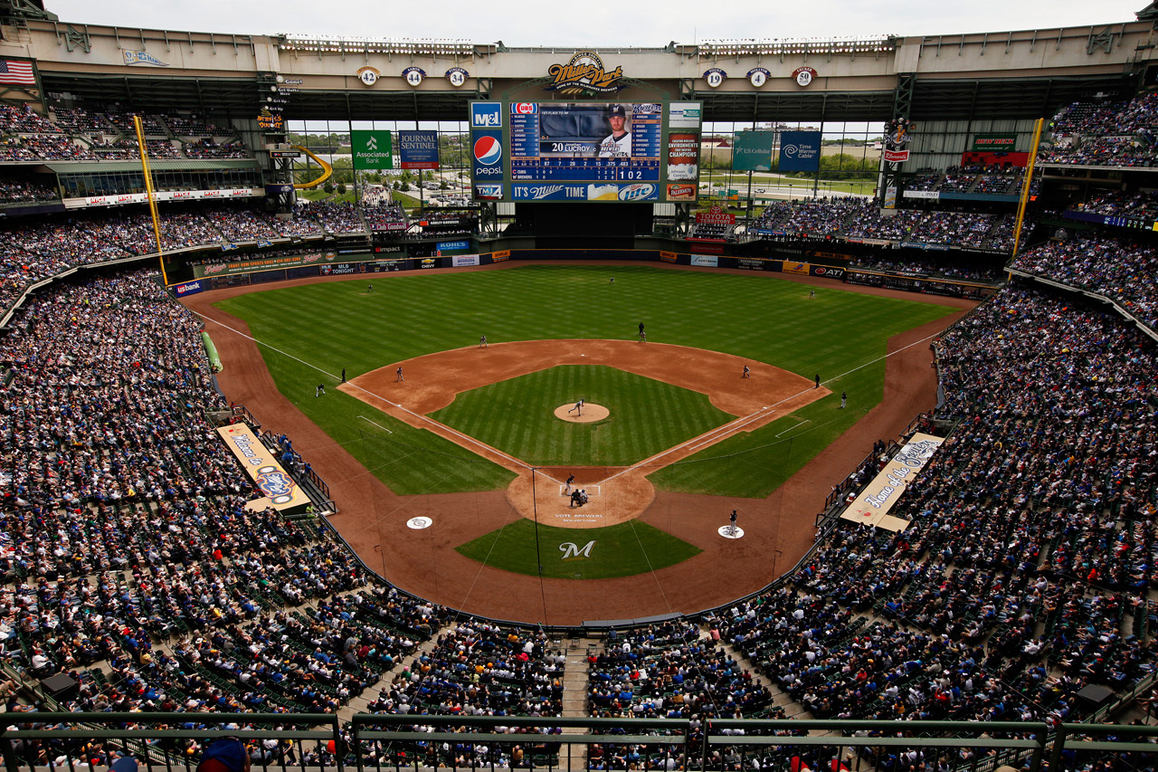 Miller Park, with the slide in left field  (Photo by Scott Paulus/Milwaukee Brewers/MLB Photos via Getty Images).