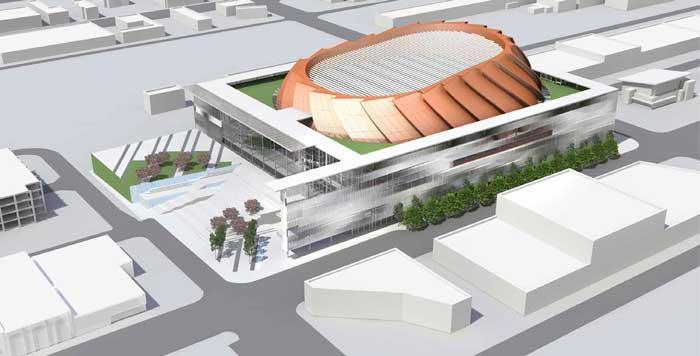 Renderings of a proposed Seattle arena