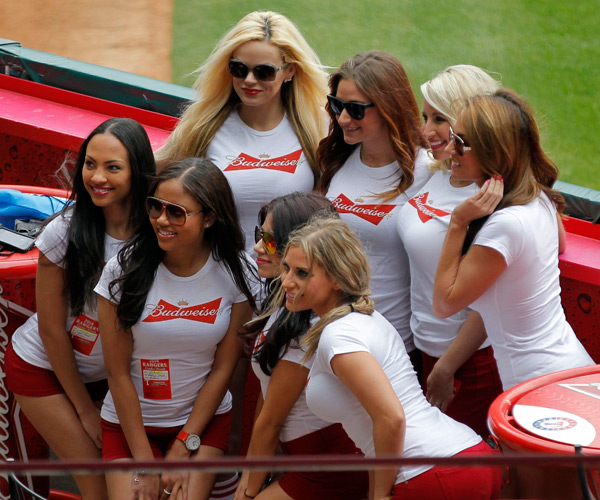 The Budweiser Girls take a team photo  before the Rangers-Phillies game. (Ron Jenkins/Fort Worth Star-Telegram/MCT)