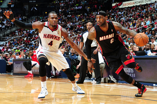 LeBron James wore a black Heat jersey. (Scott Cunningham/Getty Images)