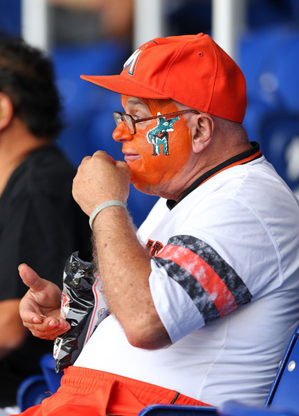 A Miami Marlins fan takes in opening day. (Mike Ehrmann/Getty Images)