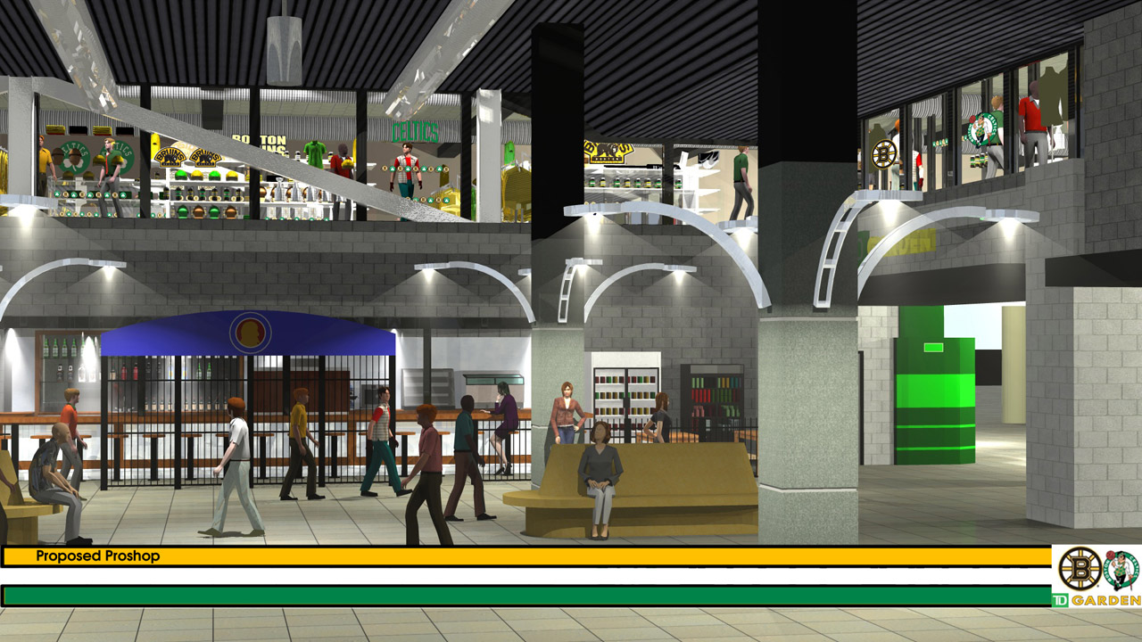 Rendering of new pro shop at TD Garden