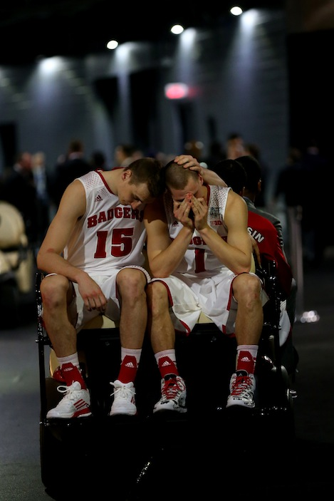Heartbreak. Wisconsin's Sam Dekker and Ben Brust.  (Getty Images)