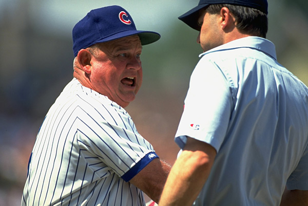 Beloved manager Don Zimmer exchanges words with an umpire. (John Biever/SI)