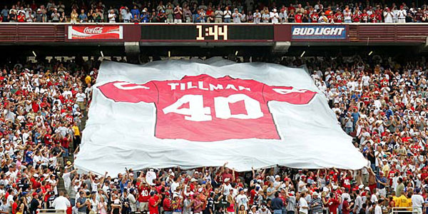 The Arizona Cardinals retired Tillman's number on Sept. 19, 2004. (Gene Lower/SI)