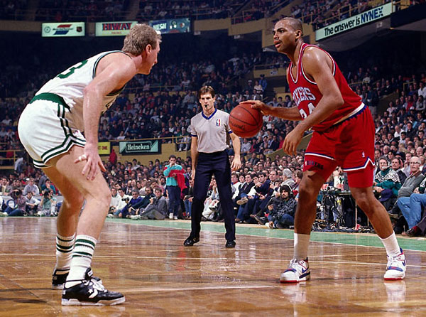 Charles Barkley and Larry Bird, 1989 :: Richard Mackson/SI