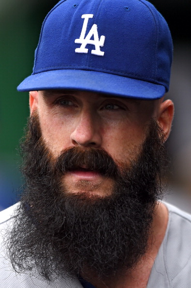The Dodgers' Brian Wilson has one of the most consistent beard strategies in baseball, as showcased in this photo from May 7. I admire his unwavering commitment to beard excellence, it's something we should all strive for.