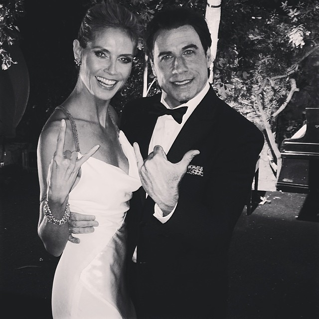 @heidiklum hangs out with John Travolta; no word on whether or not he got her name right #nevergetsold