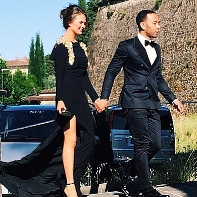 IMG Models (@imgmodels) were pretty proud of their girl Chrissy Teigen's #OOTKW (Outfit Of The Kimye Wedding)