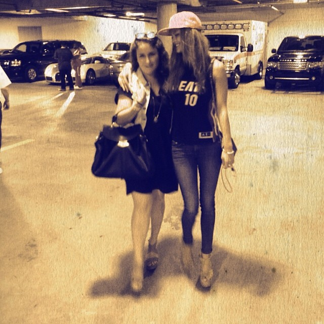 Nina Agdal (@ninaagdal) and a friend after seeing her Miami Heat play
