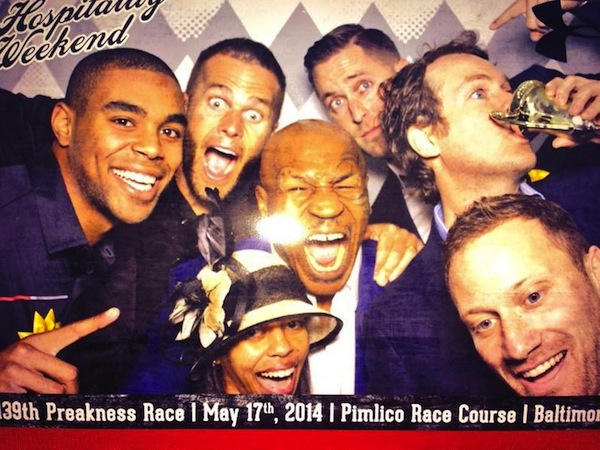 Tyson, Brady, Kliff Kingsbury and friends at the Preakness.  (Twitter @MikeTyson)