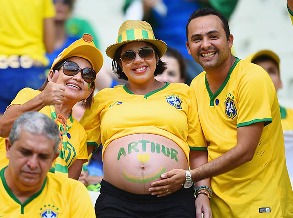 A pregnant fan at the Brazil-Mexico game. (Getty Images)