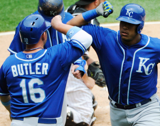 Salvador Perez (right) and the Royals are flying high thanks to a seven-game win streak.