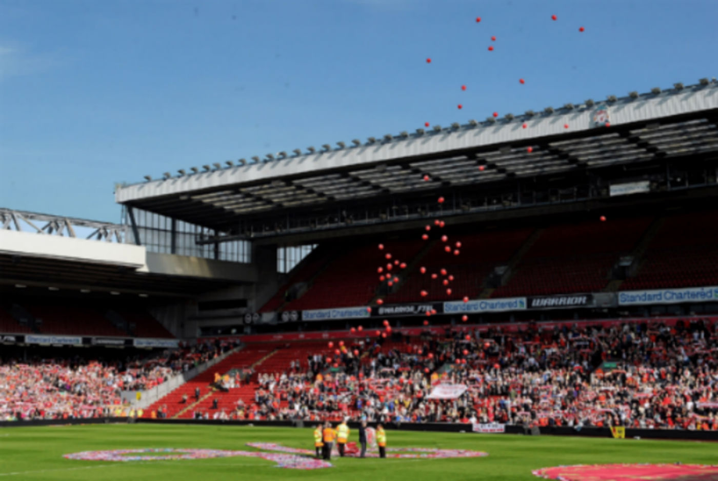 96 balloons, one for each of the fallen, are released at Anfield. (Liverpool FC)