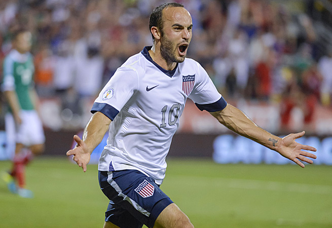 Landon Donovan celebrates his Sept., 2013 goal vs. Mexico during CONCACAF World Cup qualifying.