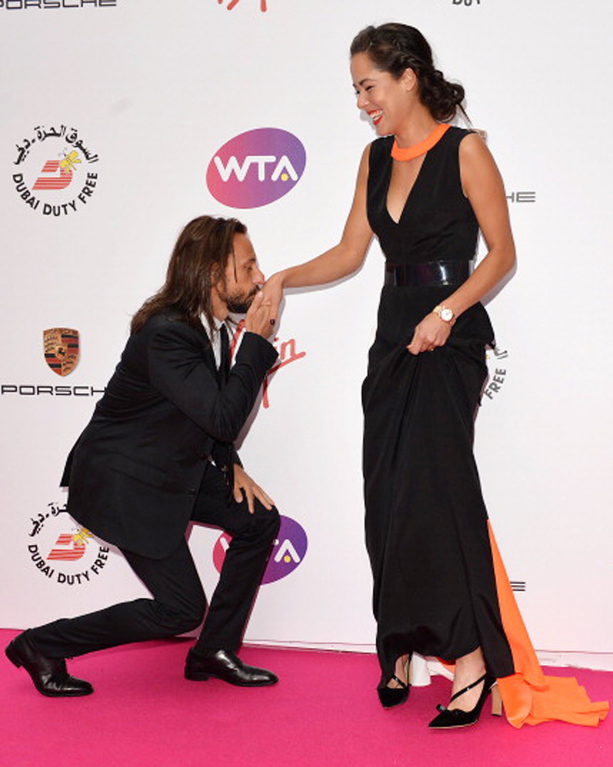 "Ana Ivanovic and Bob Sinclar: Things got a little ""French"" when the DJ hit the pink carpet."