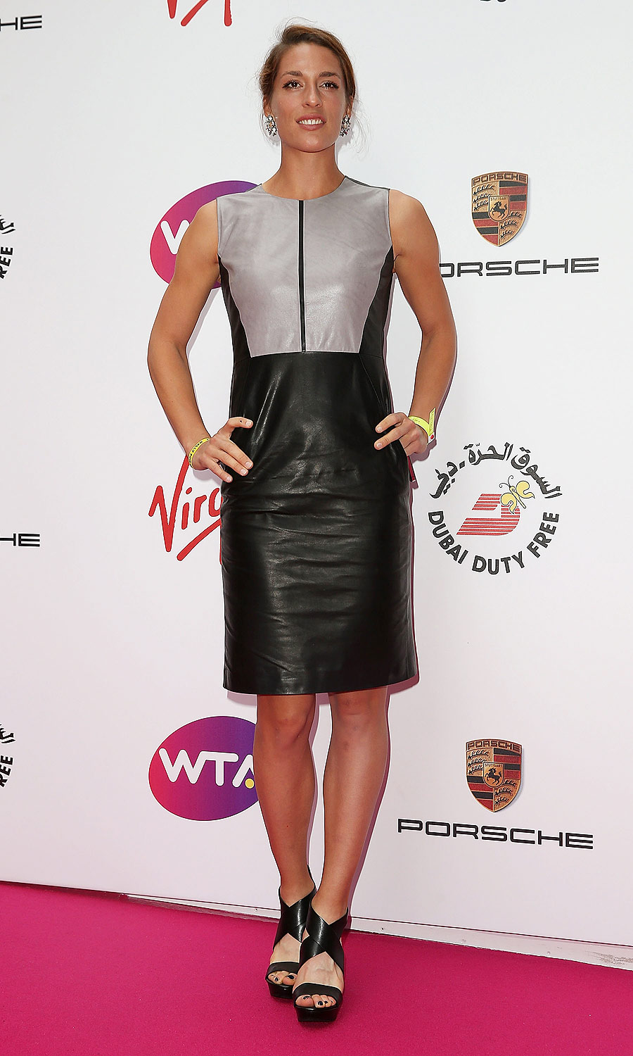 Andrea Petkovic: The German spotted her leather Hugo Boss dress at the Frankfurt airport on the way to London that day.