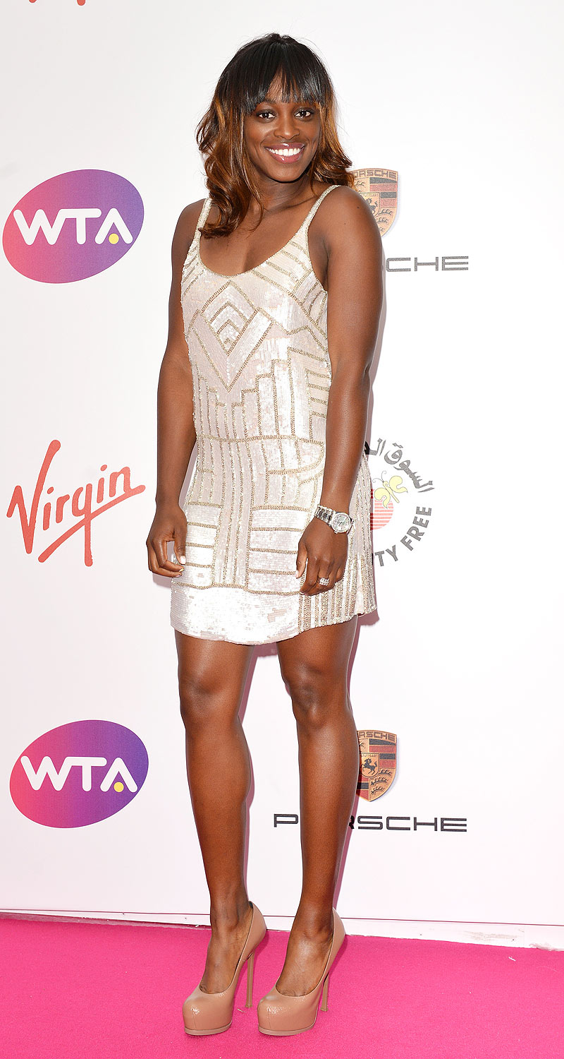 Sloane Stephens: Check out the amazing nude heels Stephens was forced to abandon to save her feet and the lawn.