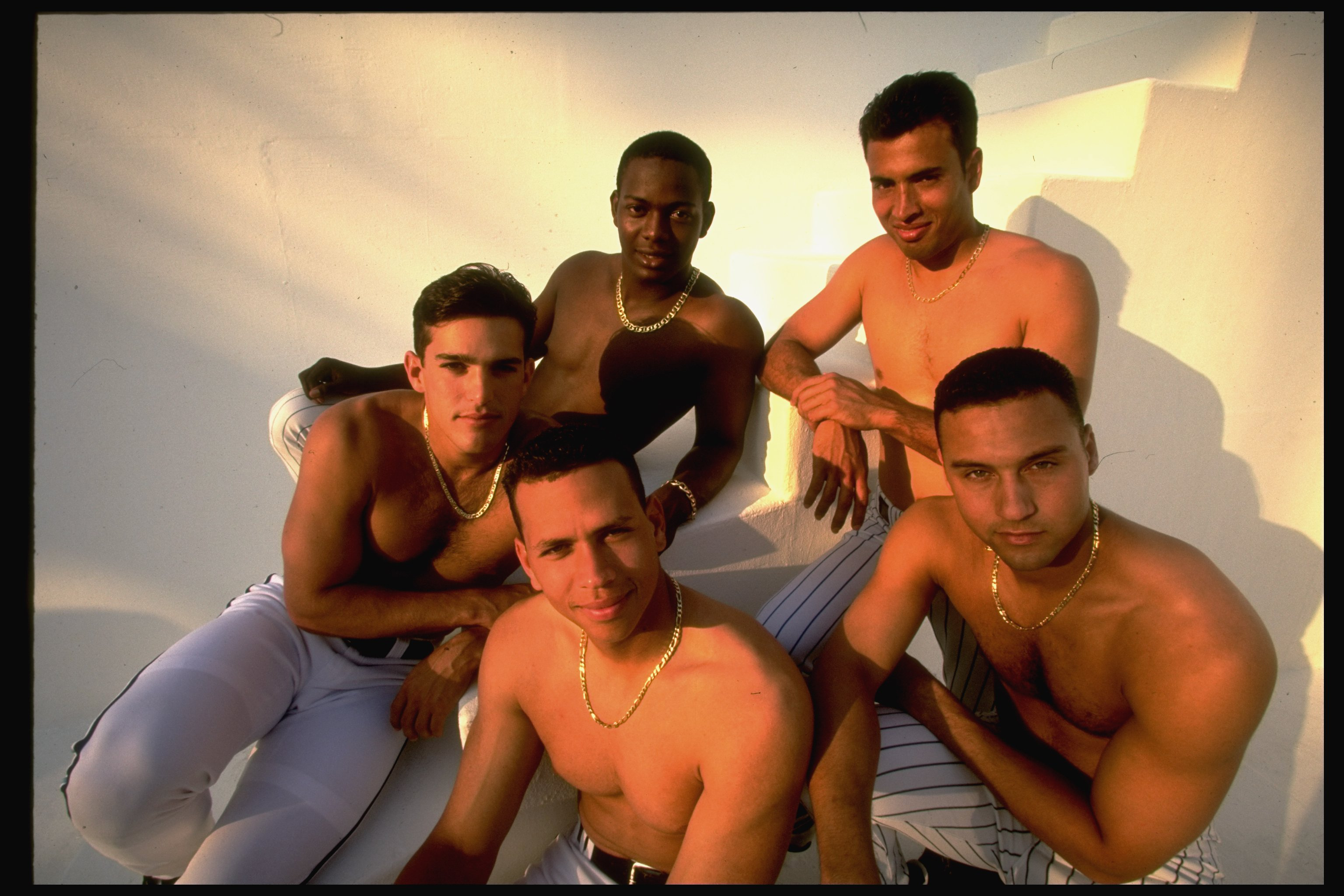 Casual portrait of (clockwise L-R) Toronto Blue Jays Alex Gonzalez,  Florida Marlins Edgar Renteria, NY Mets Rey Ordonez, NY Yankees Derek Jeter and Seattle Mariners Alex Rodriguez.
