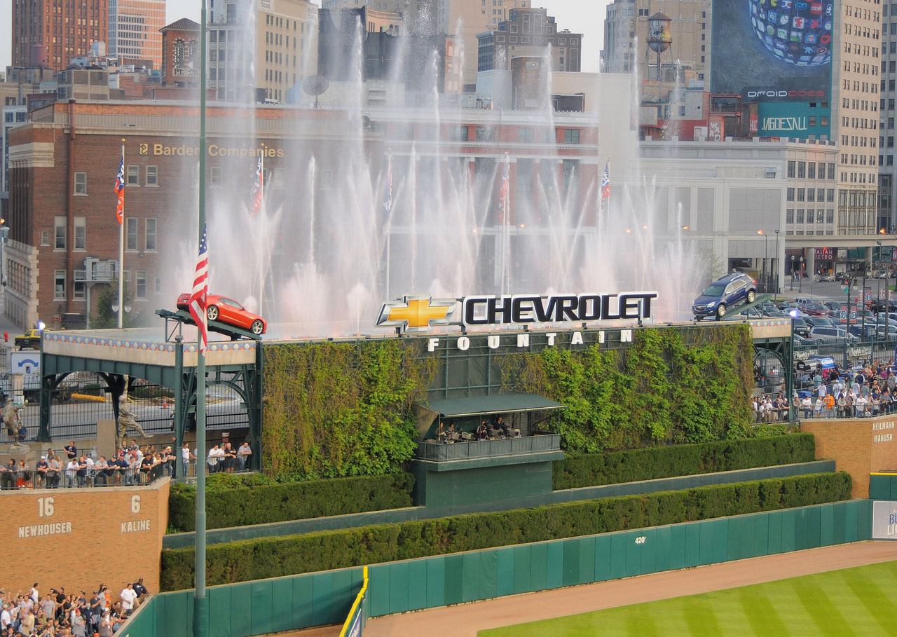 Chevrolet Fountain at Comerica Park (Photo by Mark Cunningham/MLB Photos via Getty Images)