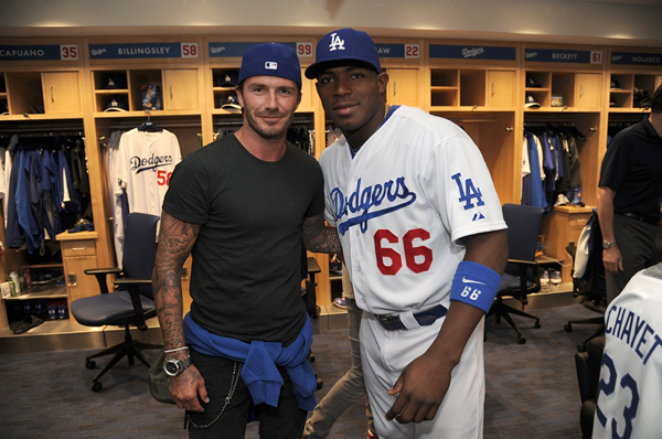 Yasiel Puig and David Beckham :: Getty Images