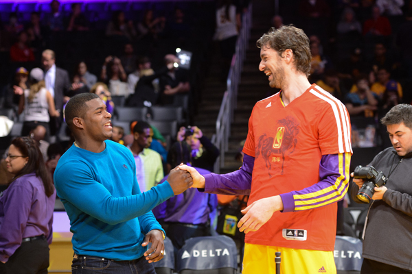 Yasiel Puig and Pau Gasol :: Getty Images