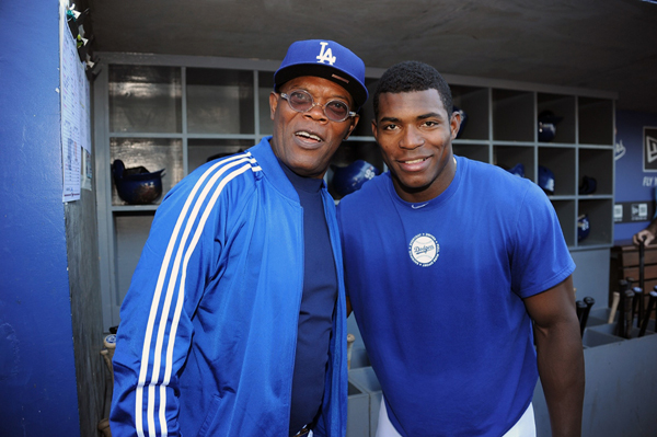 Samuel L. Jackson and Yasiel Puig :: Getty Images