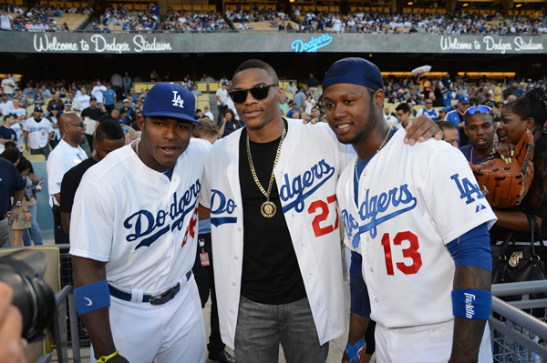 Yasiel Puig, Russell Westbrook and Hanley Ramirez :: Getty Images