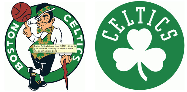 The Boston Celtics' primary logo (left) and secondary logo (right).